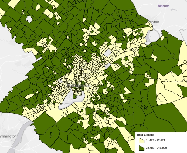 Philadelphia 2016 5-year average median household income 2