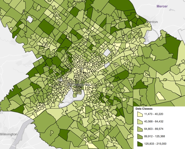 Philadelphia 2016 5-year average median household income