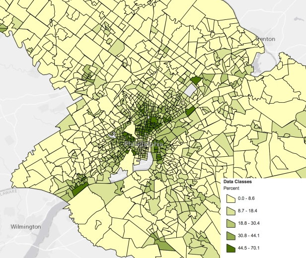 Philadelphia 2016 5-year average poverty rate
