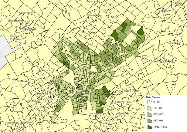 Philadelphia 2016 5-year average working outside principal city