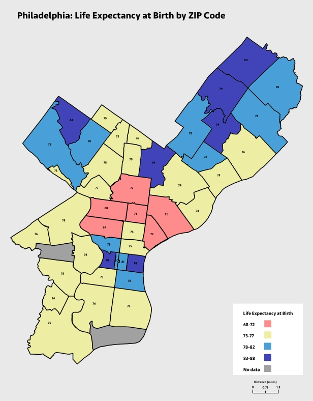 Philly Life Expectancy by ZIP Code